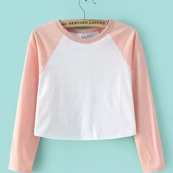 Contrast Color Long Sleeve Cropped T-Shirt