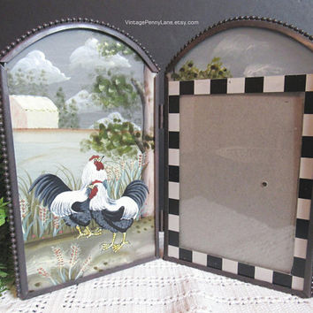 Folding Picture Frame, Painted Chickens Glass Photo Frame, 5x4