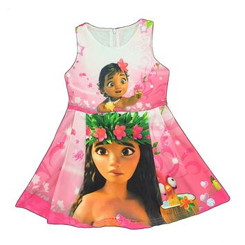2017 MOANA Dress Baby Girl Dress Moana Summer Sleeveless Dress Girls Costumes kids dresses for girls N08