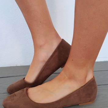 Slip On Flats: Taupe