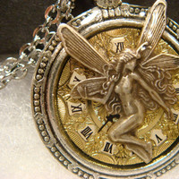 Fairy over Vintage Watch Face Pocket Watch Style Steampunk Pendant Necklace (1931)