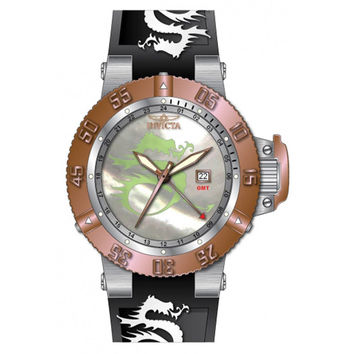 Invicta 13913 Men's Subaqua Noma Rose Gold Bezel Silver Dial Black Rubber Strap GMT Dive Watch