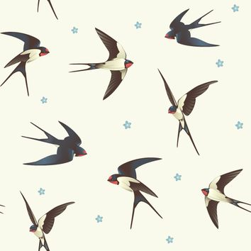 Removable Wallpaper - Barn Swallows