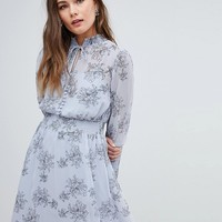 Boohoo Long Sleeve Floral Print Dress at asos.com
