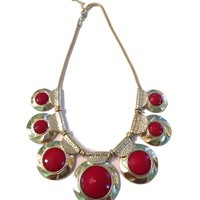 chunky statement red and gold necklace
