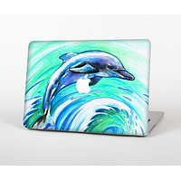 "The Pastel Vibrant Blue Dolphin Skin Set for the Apple MacBook Pro 13"" with Retina Display"