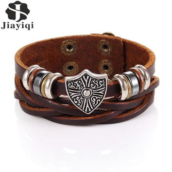 Jiayiqi Brown Braided Leather Bracelet Leaf Star Skull Wide Cuff Bangles Handmade Wristband for Men Women Personality Jewelry