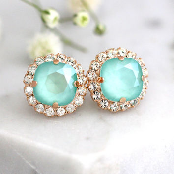 Mint Earrings, Mint Opal Studs, Swarovski Crystal Mint Earrings, Seafoam Earrings, Bridesmaids Mint Earrings, Gift For He, Green Earrings