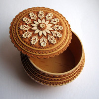 Carving Wooden Jewelry Birch Bark Box Round Box