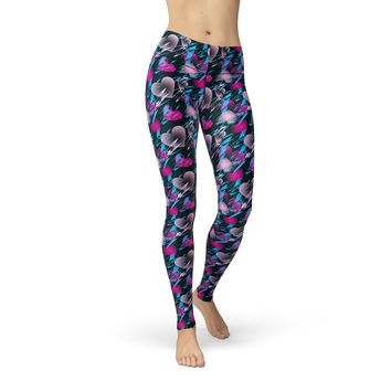 Valentine's Day Leggings - Colorful Hearts