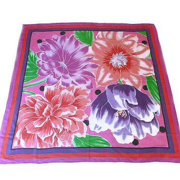 Oscar de la Renta Scarf, Silk Scarf, Floral Flower Print, Red Pink Purple, Designer Fashion, Vintage Accessories