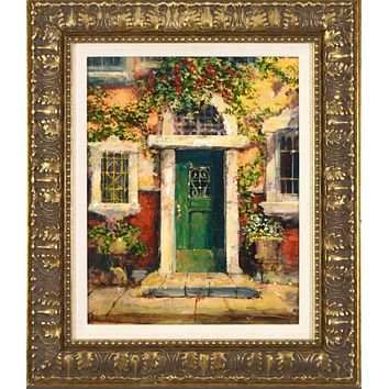 Green Door in Naples - Limited Edition Gallery Proof Giclee on Canvas by James Coleman Hand Embellished