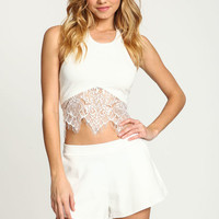IVORY LACE HALTER CROP TOP