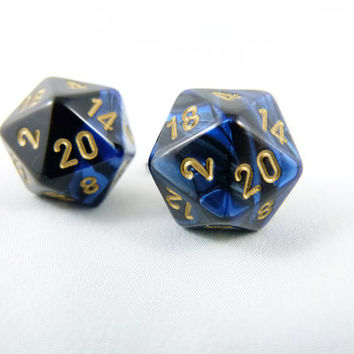 Premium Gemini Metallic Blue Black and Gold D20 Cuff by angelyques