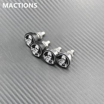 Motorcycle Accessories Universal 6mm 2PCS/Pair Skull License Plate Frame Bolts Screw Fastener