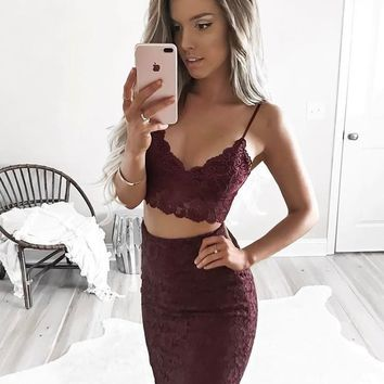Burgundy Lace V-neck Homecoming Dresses,Strap Two Piece Sheath Short Homecoming Dresses