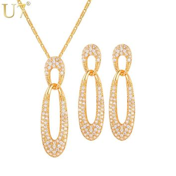 U7 Bridal Jewelry Sets For Women Necklace Shiny Rhinestone Jewellery Gift Silver/Gold Color Earrings Set Indian Jewelry S1020