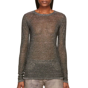 Isabel Marant Green And Grey Lurex Knit Venice Pullover