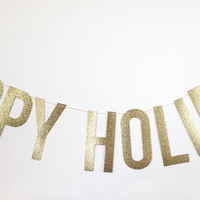 Happy Holidays Gold Glitter Banner - Gold Sparkle Banner - Holiday Decoration // Wedding Decor // Christmas