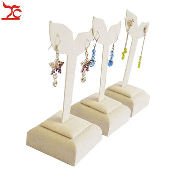 3PCS Beige Velvet Wood Fashion Jewelry Display Holder for Jewelry Earrings Stand Dangle Tree Hanger Suspension