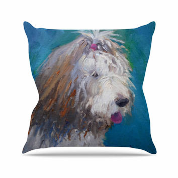 "Carol Schiff ""Shaggy Dog Story"" Blue Animals Outdoor Throw Pillow"