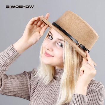 AIWOSHOW 2017 New Fashion Flat Top Fedoras Vintage Hat For Women Autumn Imitation Wool Hat Belt Buckle Collocation Cloche Hat
