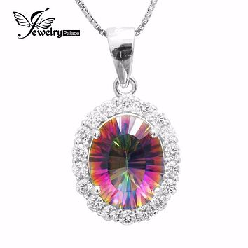 Luxury Fashion Lady 2.5ct Genuine Natural Rainbow Fire Mystic Topaz Pendant Real Solid Pure 925 Sterling Silver