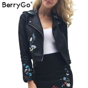 Trendy BerryGo Embroidery faux leather coat PU motorcycle leather jacket women coat 2017 Autumn outwear fashion ladies' leather jackets AT_94_13