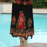 Anandas Collection Black & Red Fleur-de-Lis Tie-Dye Handkerchief Skirt - Plus | zulily