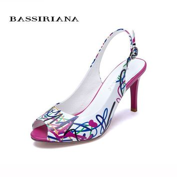 Genuine leather shoes woman Summer 2017 Heels Open Toe Sandals White Print Fashion 35-40 Back Strap Free shipping BASSIRIANA