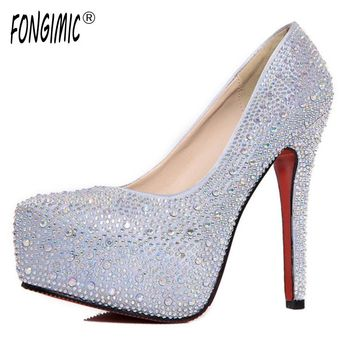 High quality summer new sexy fashion hot women shoes diamond high heels waterproof stiletto cross tied bride wedding pumps shoes