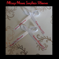 Mickey Mouse Ribbons - Personalized Ribbons Disney Inspired Birthday Celebration Party Favor Custom Wording Assembled for Gifts Pack of 25