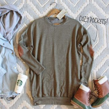 Cozy Sweatshirt Dress in Olive