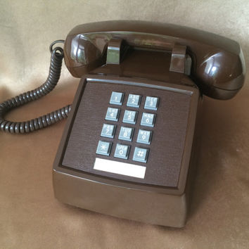 Push Button Phone, Vintage Touchtone, Chocolate Brown, Landline Phone, Office Telephone, Tabletop Phone, Telephone w Handset, 70s Telephone