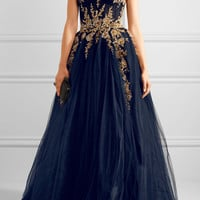 Reem Acra - Embellished tulle gown
