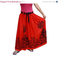 Valentine Sale Long Maxi Skirt in Red and Black with Sash Belt / Spring Fashion Skirt / / Ready to Ship