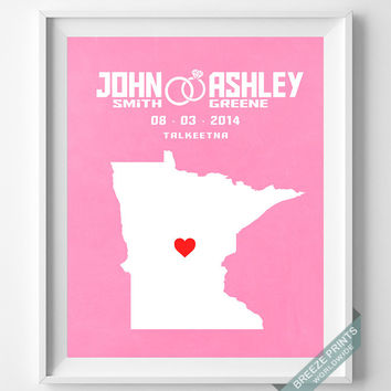 Anniversary, Print, Minnesota, Wedding, Customized, Couple, Personalized, Gift, Map, Custom, Wall Art, Home Decor, Marriage, Love [NO 22]