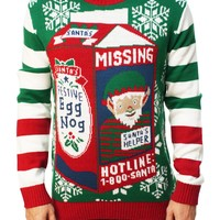 Ugly Christmas Sweater Men's Missing Santa Helper Pullover Sweater