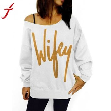 Wifey Off Shoulder Gold Leafed Sweatshirt Pull Over