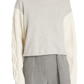 3.1 Phillip Lim Cable Knit Sleeve Sweatshirt | Nordstrom