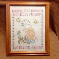 Vintage 1940s Cross Stitch Sampler - Little Girl Praying - God Bless Everyone - With Teddy Bear and Angels