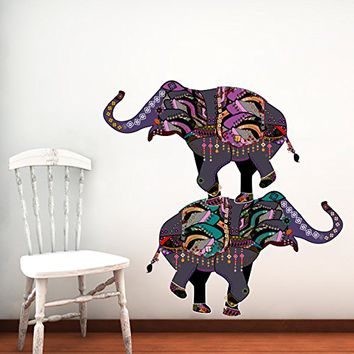 Elephant Wall Decals Full Color Indian Elephant Colorful Floral Patterns  Mandala Flowe
