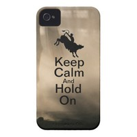 Keep Calm and Hold On Bull Riding case iPhone 4 Cover