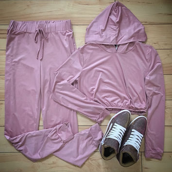 Ultra Suede Two Piece Cropped Hoody Jogger Set