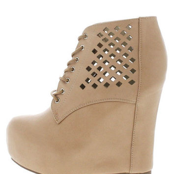 VICKY3 NUDE LASER CUT WEDGE BOOT