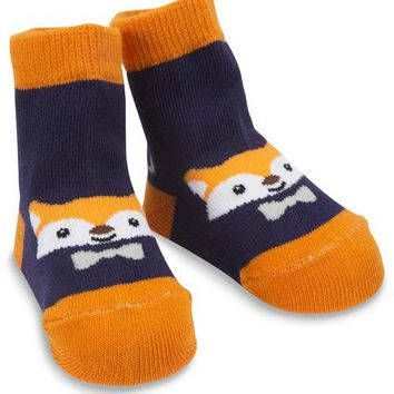 Orange and Navy Fox Baby Socks 0-12 Months