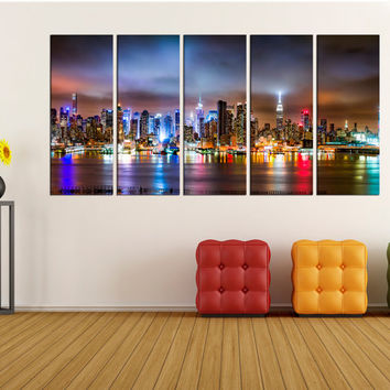 New york skyline canvas print wall art, modern canvas wall decor, extra large wall art canvas for home decor, photo print No:3S92