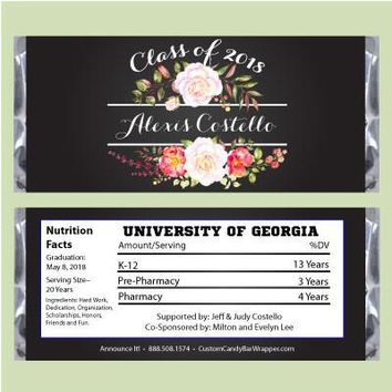 Floral Graduation Candy Bar Wrappers