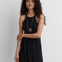 AEO Strappy Hi-Neck Shift Dress, Black