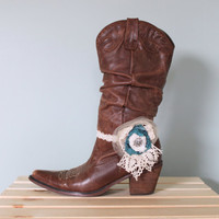 Boot Bracelet, Cowboy Boot Decoration, Boot Decor Crochet Ruffled Elastic Spur Shabby Chic Country Girl Country Wedding Accessory